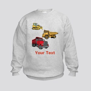 Works Site Vehicles and Text Kids Sweatshirt