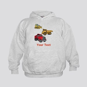 Works Site Vehicles and Text Kids Hoodie