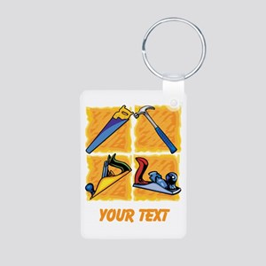 Carpenters Tools and Text. Aluminum Photo Keychain