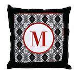 Diamond Red Monogram Throw Pillow