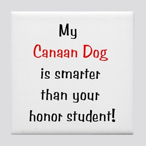 My Canaan Dog is smarter... Tile Coaster