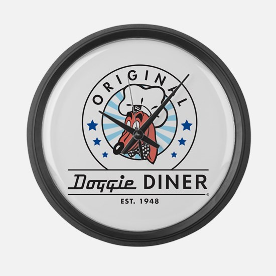 DOGGIE DINER Restaurant Logo #2 Large Wall Clock