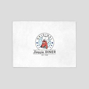DOGGIE DINER Restaurant Logo #2 5'x7'Area Rug