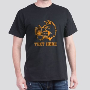 Boar and Custom Text. Dark T-Shirt