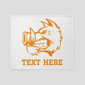 Boar and Custom Text. Throw Blanket