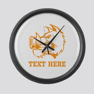 Boar and Custom Text. Large Wall Clock