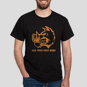 Orange Wild Pig and Text. Dark T-Shirt
