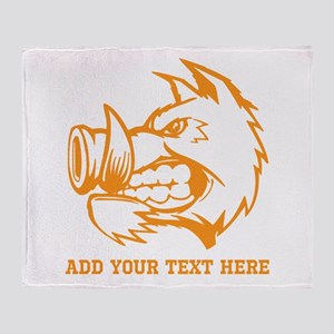 Orange Wild Pig and Text. Throw Blanket