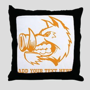 Orange Wild Pig and Text. Throw Pillow