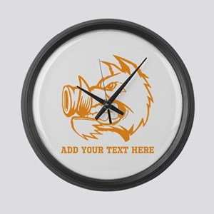 Orange Wild Pig and Text. Large Wall Clock