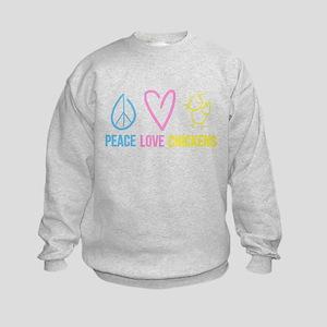 peace, love, chickens Kids Sweatshirt