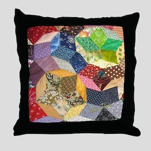 Tumbling Block Patchwork Quilt Throw Pillow