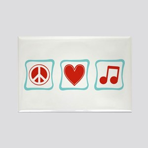 Peace, Love and Music Rectangle Magnet
