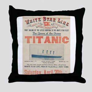 Titanic Advertising Card Throw Pillow