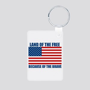 Because of the Brave Aluminum Photo Keychain