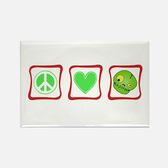 Peace, Love and Zombies Rectangle Magnet