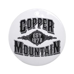 Copper Mountain Silver Black Ornament (Round)