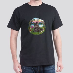 Garden-Blk Shih Tzu Dark T-Shirt