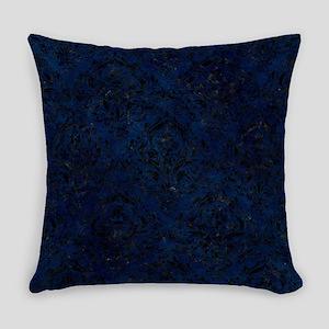 DAMASK1 BLACK MARBLE & BLUE GRUNGE Everyday Pillow