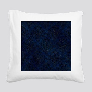 DAMASK1 BLACK MARBLE & BLUE G Square Canvas Pillow