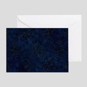 DAMASK1 BLACK MARBLE & BLUE GRUNGE ( Greeting Card