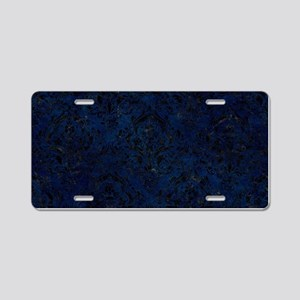 DAMASK1 BLACK MARBLE & BLUE Aluminum License Plate