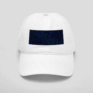 DAMASK1 BLACK MARBLE & BLUE GRUNGE (R) Cap