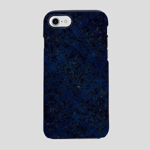 DAMASK1 BLACK MARBLE & BLUE GR iPhone 7 Tough Case