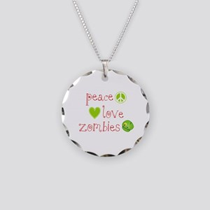 Peace, Love and Zombies Necklace Circle Charm