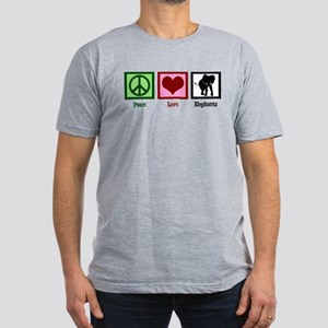 Peace Love Elephants Men's Fitted T-Shirt (dark)