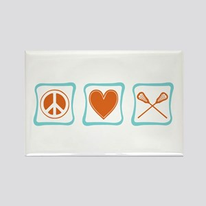 Peace, Love and Lacrosse Rectangle Magnet