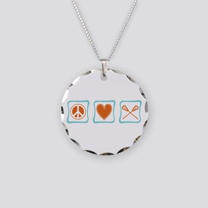 Peace, Love and Lacrosse Necklace Circle Charm