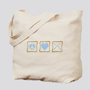 Peace, Love and Rowing Tote Bag