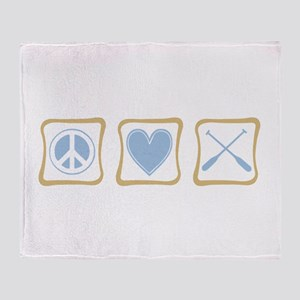Peace, Love and Rowing Throw Blanket