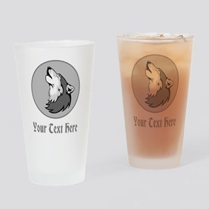 A Wolf Howling. Gray Text. Drinking Glass