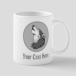 A Wolf Howling. Gray Text. Mug