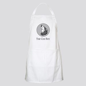 A Wolf Howling. Gray Text. Apron
