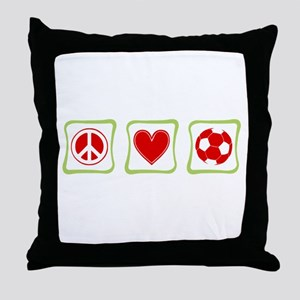 Peace, Love and Soccer Throw Pillow