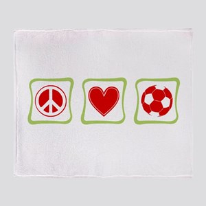 Peace, Love and Soccer Throw Blanket