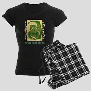 Fancy Dragon and Custom Text Women's Dark Pajamas