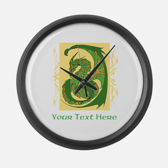 Fancy Dragon and Custom Text Large Wall Clock