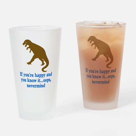 T Rex Can't Clap Hands Drinking Glass