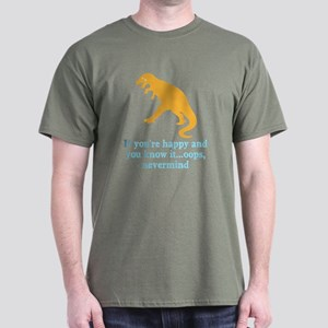 T Rex Can't Clap Hands Dark T-Shirt