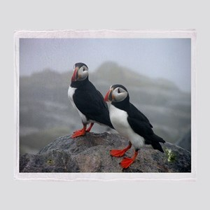 Puffins Keeping Watch Throw Blanket