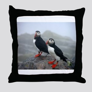 Puffins Keeping Watch Throw Pillow