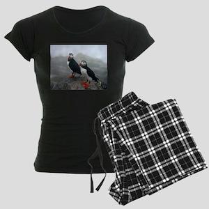 Puffins Keeping Watch Women's Dark Pajamas
