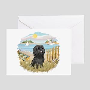 RowBoat-ShihTzu-blk Greeting Card