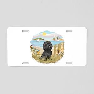 RowBoat-ShihTzu-blk Aluminum License Plate