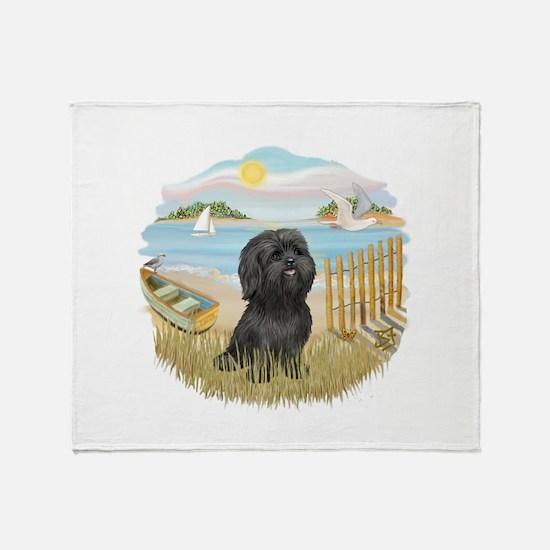 RowBoat-ShihTzu-blk Throw Blanket
