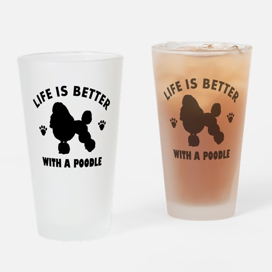 Poodle breed Design Drinking Glass